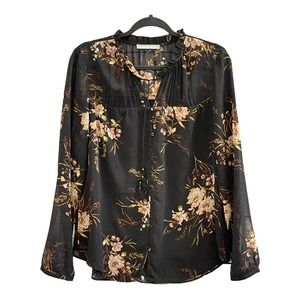Daniel Rainn Peasant BOHO Floral Top Sheer Tassel